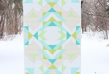 To the Sea, To the Sea, / Sea colored quilts.  Modern.