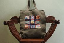 Bag : Summer breeze  / Bag in linen fabric with vintage kimono in silk