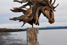 skulptur med træ stump