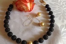 Lava Stone and Pearls. / The gorgeous contrast of matte black lava stone and silky pearls. Chunky enough to make a statement, sleek enough to ooze class.
