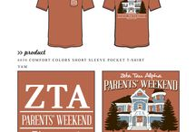 Parent's Weekend / Greek sorority and fraternity custom shirt designs featuring parent/family weekend themes. For more information on screen printing or to get a proof for your next shirt order, visit www.jcgapparel.com
