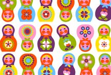 Pattern with Russian folk art
