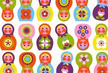 Pattern with Russian folk art
