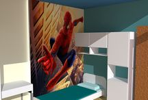 La cameretta del Supereroe / Il letto è addossato verso una parete esterna con molti ponti termici. Pertanto è stata realizzata una controparete per tutta la lunghezza del letto che ha permesso di isolare l'ambiente e garantire un maggior comfort termico.
