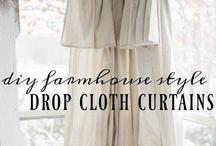 Drop cloth curtains