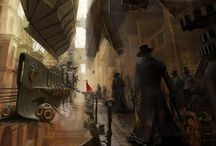 Steampunk Paintings: Neo-Victorian Architecture and Tech / Neo-Victorian Architecture Paintings and Digital Art / Steampunk Mechanics / Airships & Zeppelins / Steampunk Cityscapes / Victorian Railway & Airship Stations