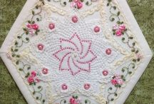 embroidered hexagon
