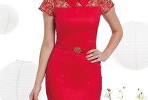 Vestido vermelho com gola