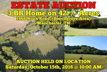 10/15/16 Court-Ordered Estate Auction: 3BR Home on 42+/- Acres / Bidding has ended for this auction. Stay tuned to http://www.comasmontgomery.com/ for more upcoming auctions.  COURT-ORDERED ESTATE AUCTION: 3 BEDROOM HOME and 42+/- ACRES Offered In 4 Tracts  1466 Noah Road, (Beechgrove Area), Manchester, Tennessee - Coffee County, The Hannah Estate  AUCTION HELD ON LOCATION Saturday, October 15th, 2016 @ 10:00 AM.  #manchester #tennessee #estate #hannah #farm #land #acres #tract #home #house #forsale #auction #coffee #county #distillery #pond #beechgrove