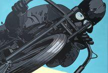 LES YEUX DANS LES YEUX / MOTO BOARTRACKER Acrylique sur toile / encre de Chine  80x80