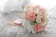 Peach Applicot Bridesmaid Flowers