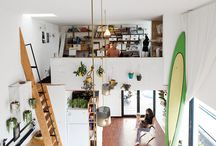 Dwell / small spaces & vegetables, wildflower gardens, tiny homes, interesting furniture, plants, plants, plants, lots of light, cool stairs — places to dwell