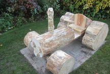 Houten tractor speeltoestel