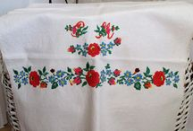 hand embroidered pure linen towel