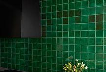 Black Kitchen Green Tiles