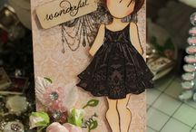 dolls - cards and mixed media