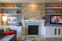 new house fireplace wall / fireplace wall and cabinetry