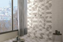 Geometric tiles, interior design / Hexagonal shaped porcelain + ceramic tiles for interior design projects.