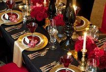 Decoration table noel rouge et or