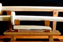 wooden weapon  / wooden weapon of aikido: jo, bokken, tanto. Set, rak, bag