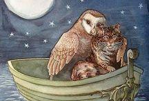 Nightime, moon, rain, owl, hares, rabbits & cat illustrations