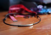 Collar de cuero y plata ajustable. / Sencillo y perfecto para combinar. Precio: 6'5€ Contacto: bykoms.accesorios@gmail.com