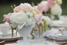 Milk Glass Arrangements & Flower Bouquets / by Vintage Styled Event Rentals