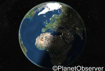 Earth / Flat earth, Earth at night, globe views... Check out PlanetObserver favorite satellite images of Planet Earth.  www.planetobserver.com
