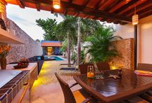 Luxury, Family Friendly in Mérida / Casa de los Sueños Restored to showcase tropical living, including a decadent outdoor lounge with lap pool. Located on a quiet street in the heart of traditional neighborhood of Santiago. Mérida, Yucatán. MÉXICO.
