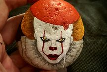 Clowns painted rocks