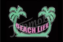 Beach rhinestone transfer