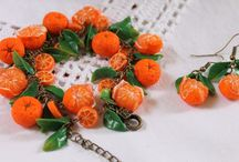 Jewelry Earrings & Bracelet Set / Orange Mandarin / made of polymer clay