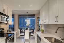 White Kitchen Cabinets / White Shaker kitchen cabinets with caesarstone countertops  By: AmeriCabinets   We Ship Nathionwide