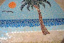 palm trees mosiac