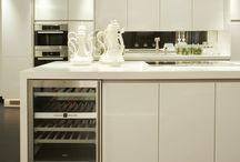 Fairhazel Project / Fairhazel Project - Antique mirror - Blanco sink - composit white worktop - dornbracht tap -  Gaggenau wine cooler - Handlesless - miele appliances - satin white lacquer