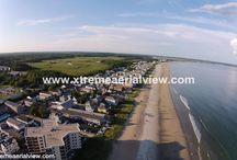 Beach and Ocean / Aerial view of beaches and ocean around Maine
