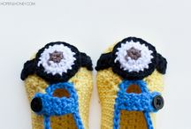 minion baby booties and hat