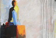 ma peinture / C'est tableaux représentent mes personnages.  Les femmes qui luttent.