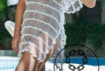 Saídas  de banho de tricô  e crochê