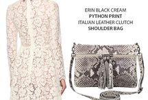Marlafiji - Erin Python Italian leather shoulder bag .