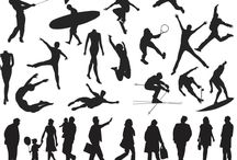 People silhouette templates vector