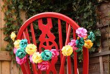 Paper flowers / Paper flowers, alternative flowers, vintage flowers, book flowers, wedding flowers, wedding decorations, chair decorations,