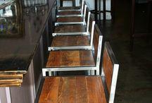 sillas hierro madera