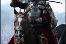 Fantasykunst Krieger mit Pferd