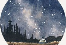 kör aqvarell éjszakai