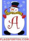 Jolly Snowman Monogram Flag