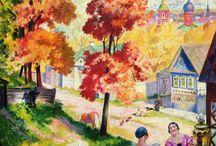 Boris Kustodijew / Бoрис Михайлович Кустодиев (1878-1927) / Boris Michajłowicz Kustodijew (ros. Бoрис Михайлович Кустодиев) (ur. 23 lutego / 7 marca 1878 w Astrachaniu; zm. 26 maja 1927 w Leningradzie) – malarz i grafik rosyjski, członek grupy Świat Sztuki. Jego malarstwo wyróżniało się żywiołowością, radosnym kolorytem. Od roku 1911 zajmował się też scenografią.