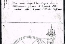 Tower Bridge original design 1878 previous sketches and calculations / Original sketches and calculations of the Tower Bridge 1878 blueprint from Sir Horace Jones, probably made bij him prior to the blueprint.