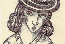 Dibujos con bolígrafo/ Drawings with pen / Dibujos realizados con bolígrafo de pequeño formato para bocetos de cuadros/Drawings made with small format pen for sketches of pictures