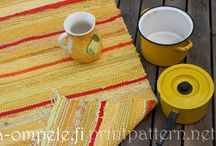 Räsymattoja / Carpet from recycled material. Traditional Finnish rag rugs.